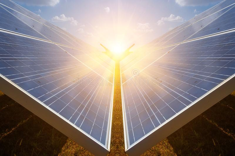 Solar panel, alternative electricity source - concept of sustainable resources, And this is a new system that can generate stock photo
