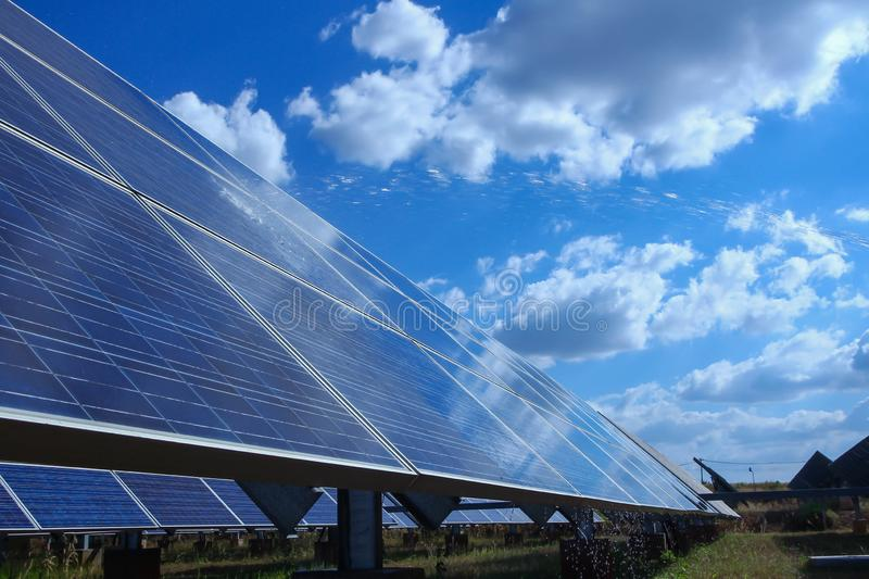 Solar panel, alternative electricity source - concept of sustainable resources, This`s the sun tracking systems, Cleaning will royalty free stock photo