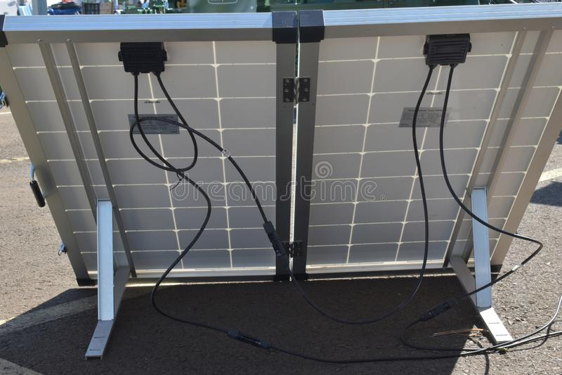 Solar panel. Alternative energy source, concept of sustainable resources, generate green electricity. Sun electricity systems. Arrangement of solar energy stock image