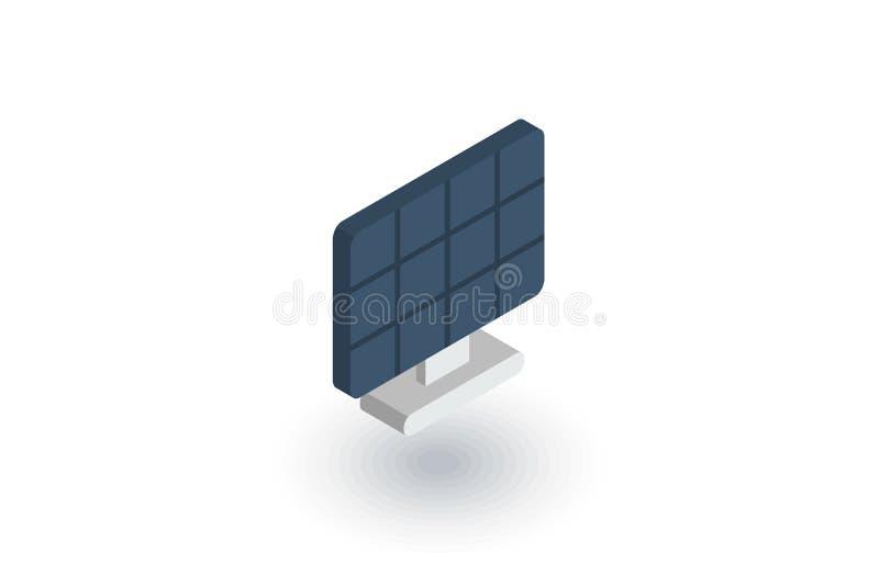 Solar panel, alternative sun energy isometric flat icon. 3d vector. Colorful illustration. Pictogram isolated on white background stock illustration