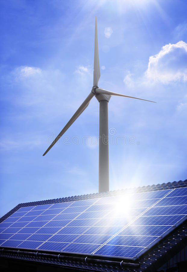 Free Solar Panel And Windmill Royalty Free Stock Photos - 9514788