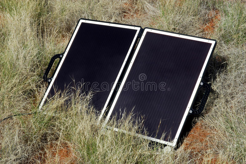 Solar panel in the Australian bush stock image
