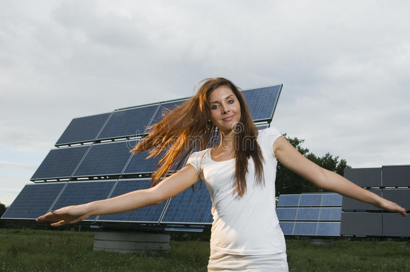 solar panel in the background