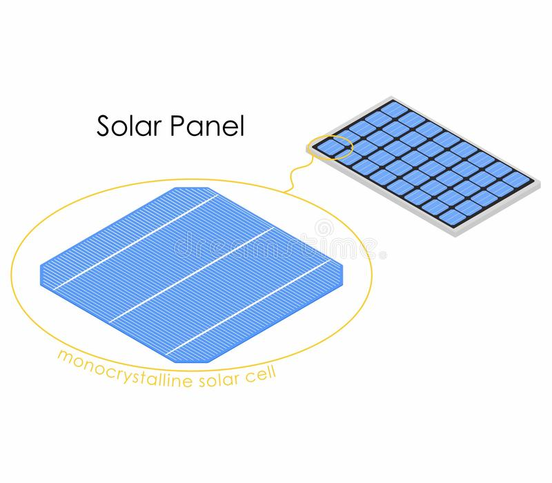 Solar panel colored with detail isometric view. Equipment for absorbing energy from the sun vector illustration