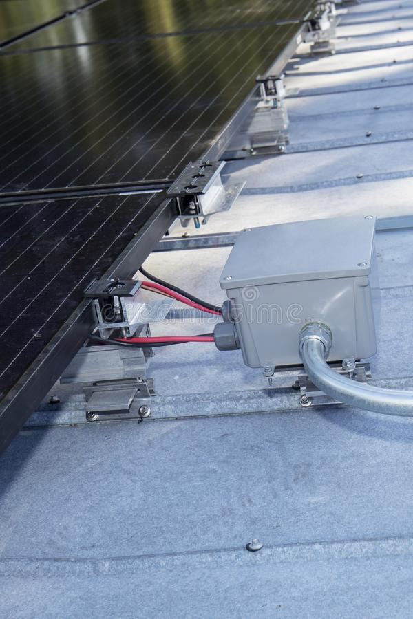 Solar Panel Connector Box. Closeup of a connector box for solar panels to an inverter stock images