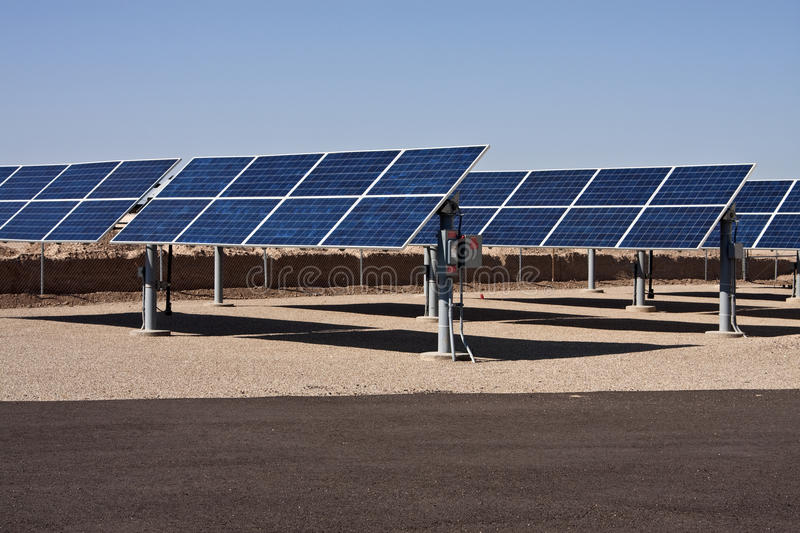 Solar panel energy collector farm royalty free stock image