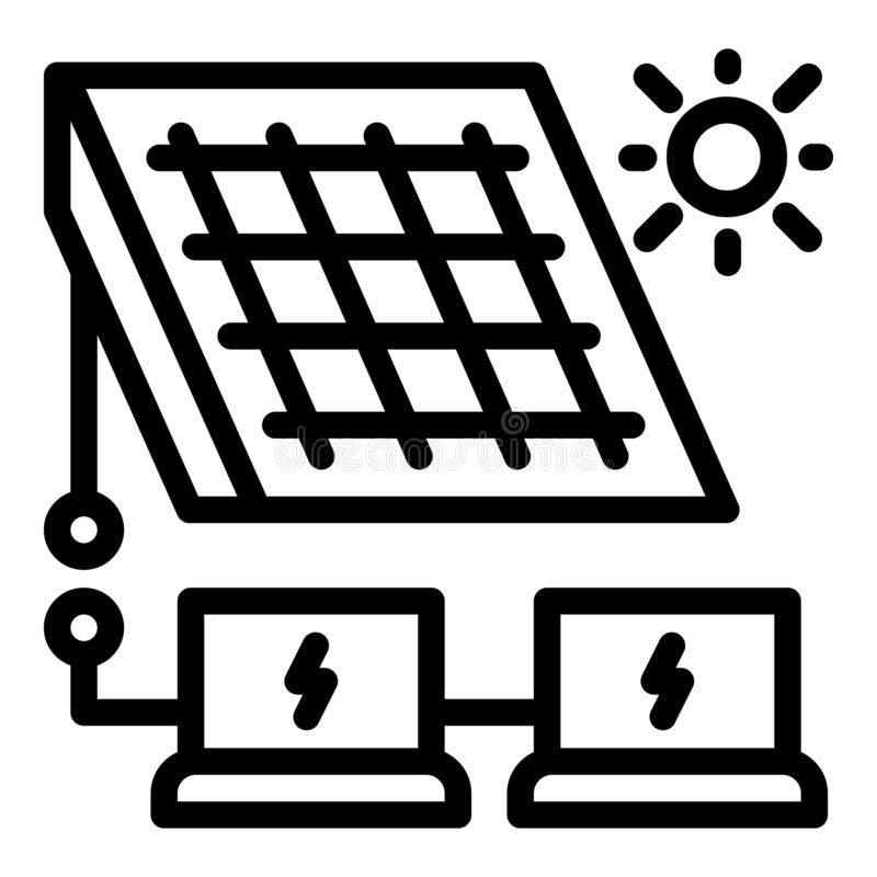 Solar panel energy solution icon, outline style vector illustration