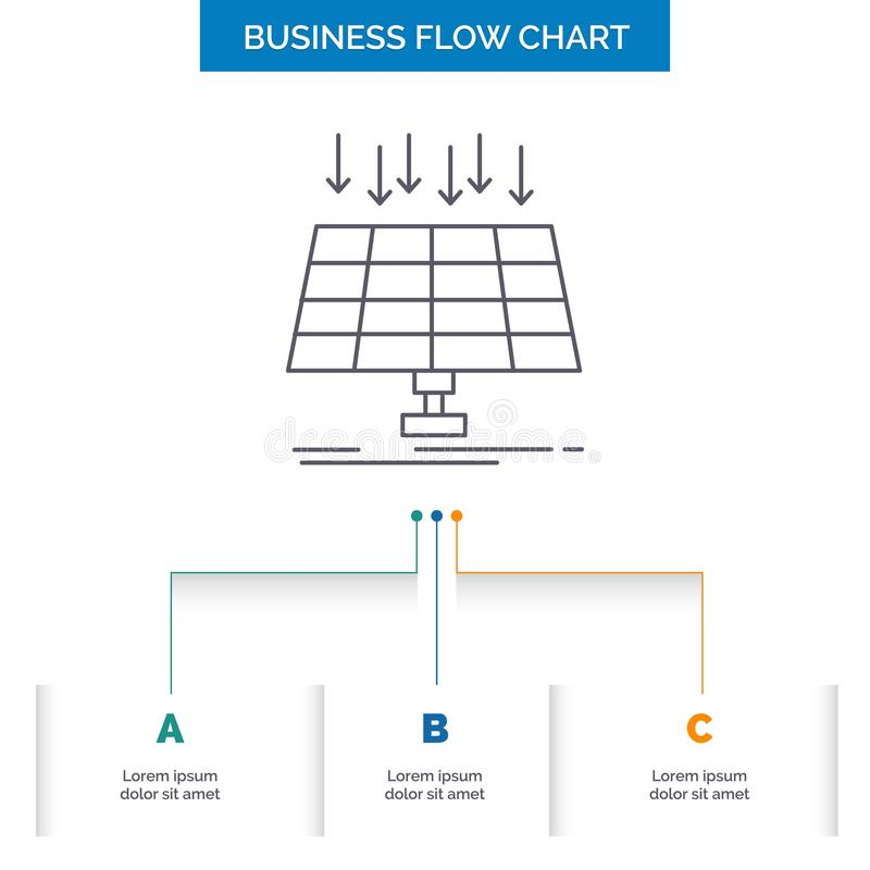 Solar, Panel, Energy, technology, smart city Business Flow Chart Design with 3 Steps. Line Icon For Presentation Background stock illustration
