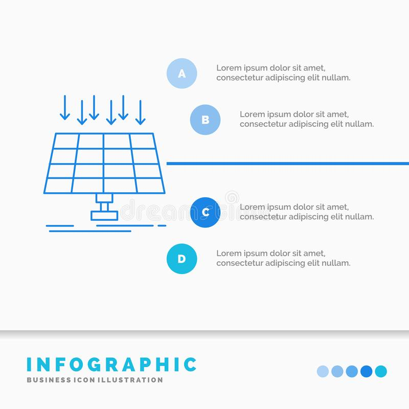 Solar, Panel, Energy, technology, smart city Infographics Template for Website and Presentation. Line Blue icon infographic style royalty free illustration