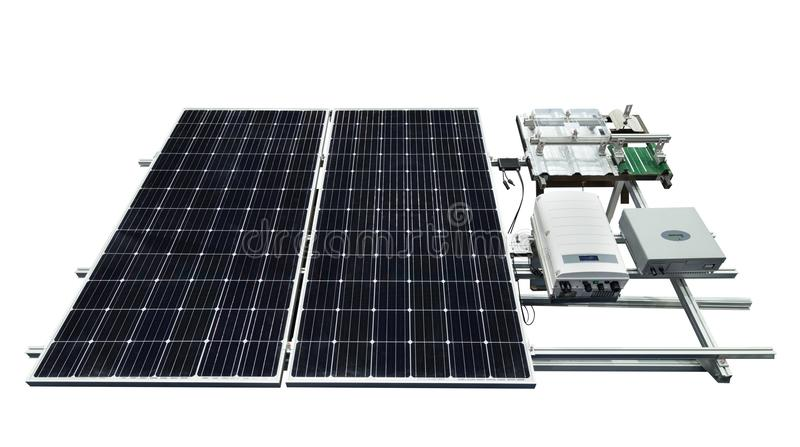 Solar panel with equipment isolated on white background royalty free stock image