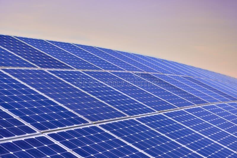 Solar Panel Field By Sunrise royalty free stock photos