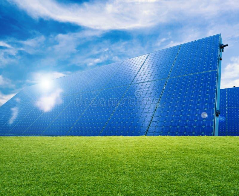 Solar panel. On green grass royalty free stock image