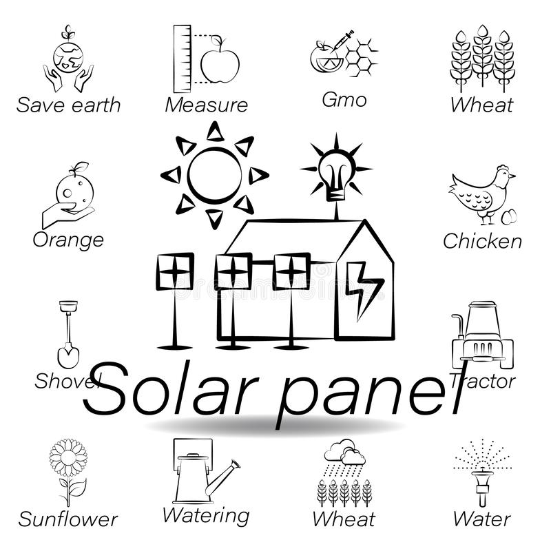 Solar panel hand draw icon. Element of farming illustration icons. Signs and symbols can be used for web, logo, mobile app, UI, UX. On white background stock illustration