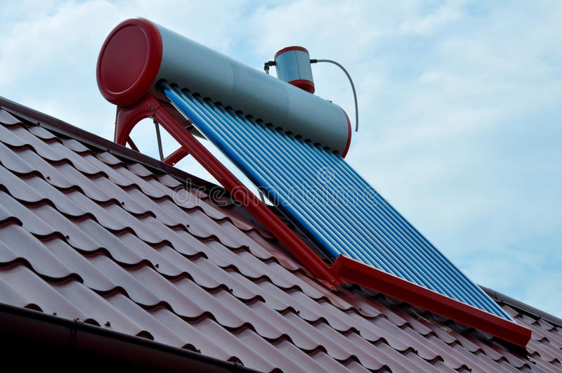 Solar panel. For heating water for a house royalty free stock photos