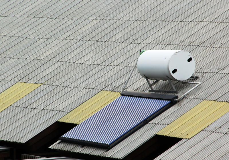 Solar panel for hot water. System on roof stock image