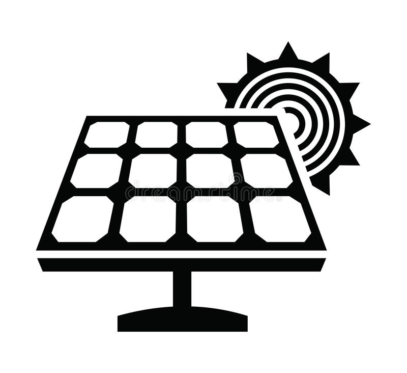 solar panel icon stock vector  illustration of silhouette