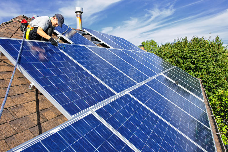Solar panel installation stock image