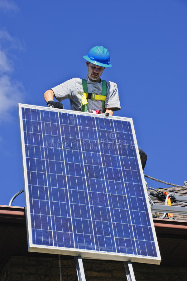 Download Solar panel installation stock photo. Image of carrying - 16251202