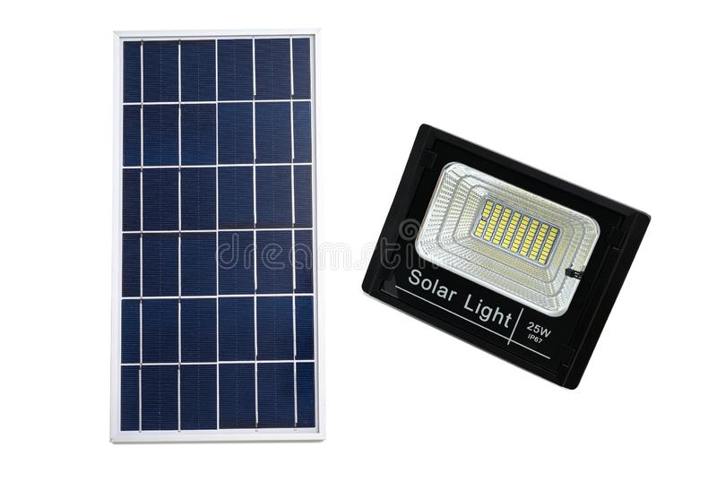 solar panel with LED light for home isolated on white background. This has clipping path royalty free stock photo