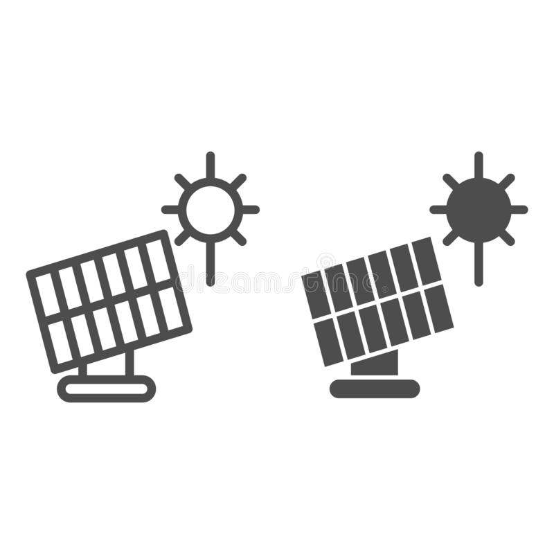 Solar panel line and glyph icon. Sun energy vector illustration isolated on white. Solar power outline style design stock illustration