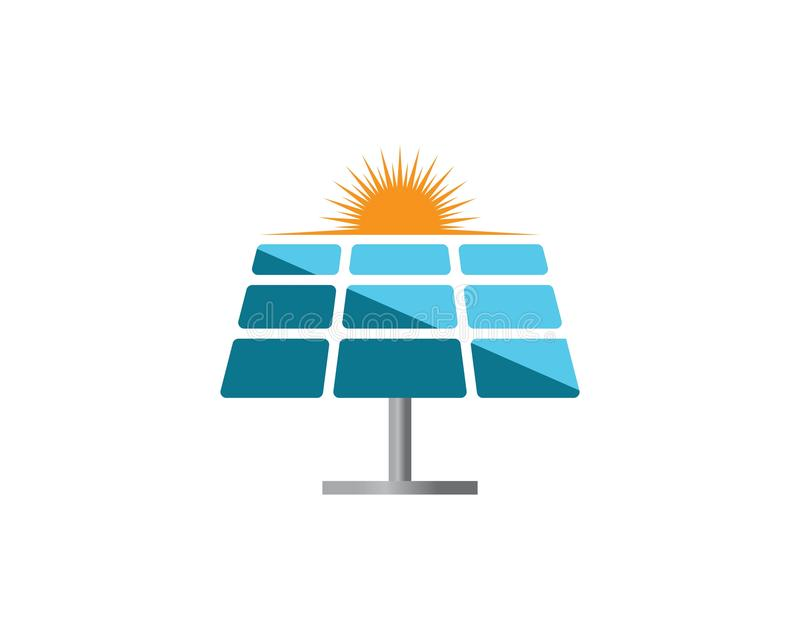 Solar panel logo illustration. Design, battery, electrical, icon, energy, vector, isolated, modern, background, sun, power, business, isometric, concept stock illustration