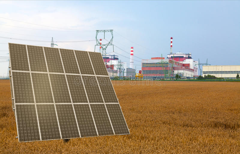 Solar panel before the nuclear power plant Temelin, Czech Republic. Field stock image