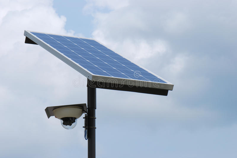 Solar Panel. A solar panel in the open monitored by a surveillance camera stock images