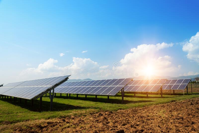 Solar panel, photovoltaic, alternative electricity source -  concept of sustainable resources stock photos