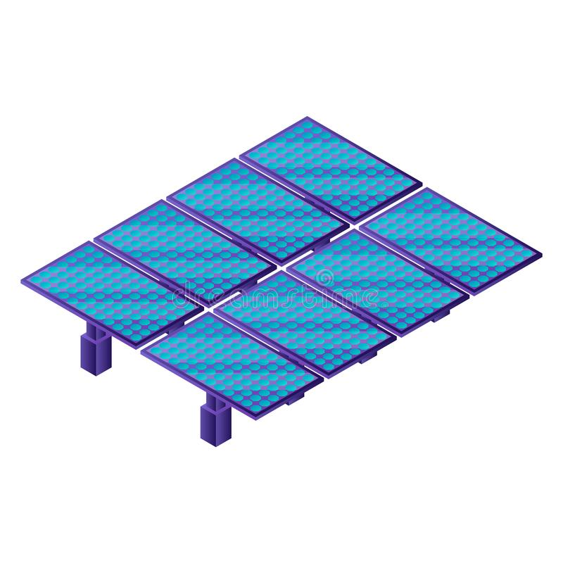 Solar panel plant icon, isometric style. Solar panel plant icon. Isometric of solar panel plant vector icon for web design isolated on white background stock illustration