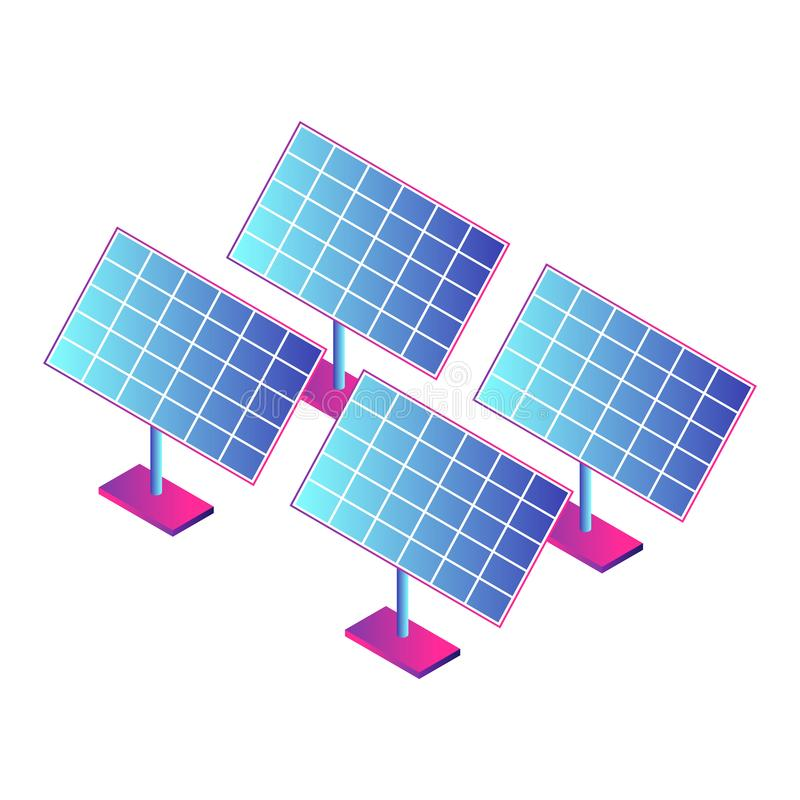 Solar panel plant icon, isometric style. Solar panel plant icon. Isometric of solar panel plant vector icon for web design isolated on white background royalty free illustration