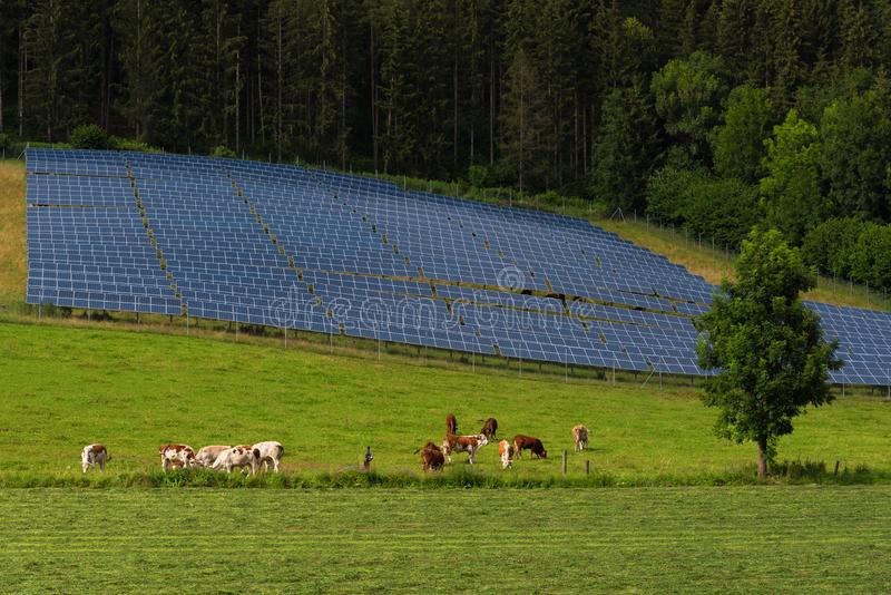Solar panel power system by the forest royalty free stock photos