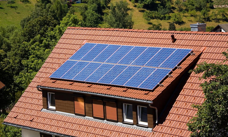 Solar panel on a roof stock image