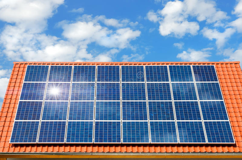 Solar panel on a roof royalty free stock image