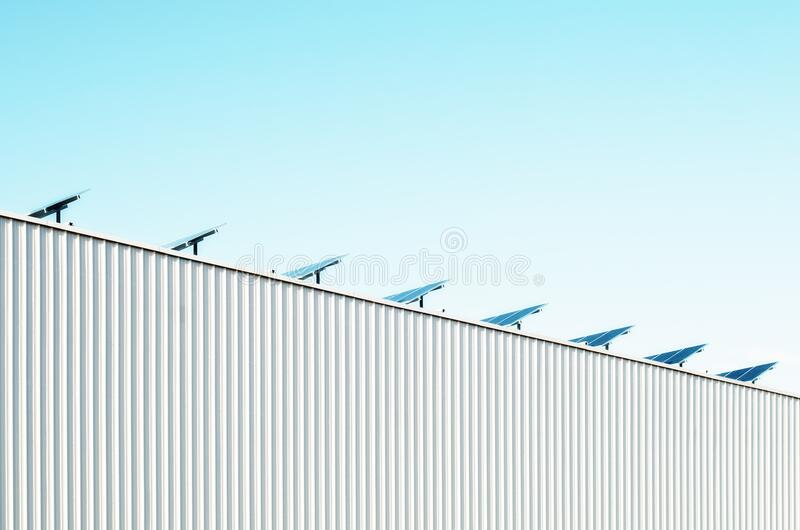 Solar panel on rooftop stock photography