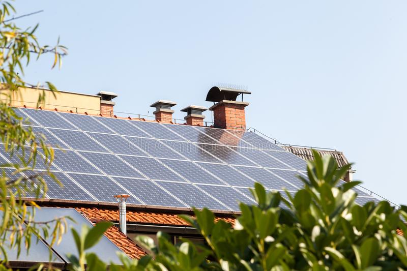 Solar panel on a rooftop. Shot of solar panel on a rooftop stock image
