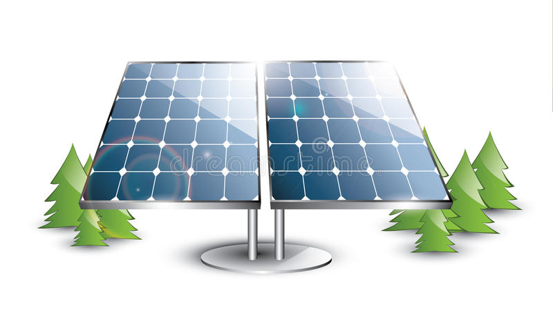 Solar panel set. In the nature stock illustration