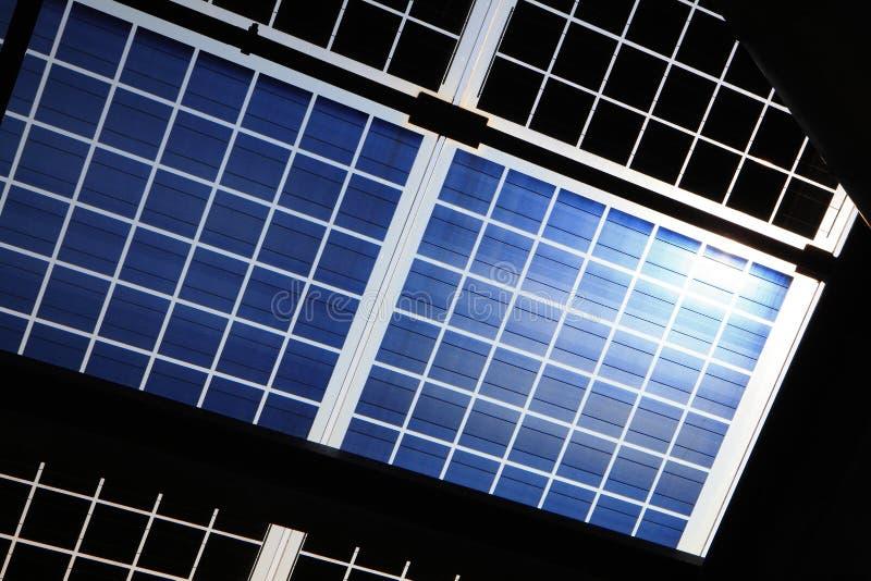 Solar panel with sunshine royalty free stock photos