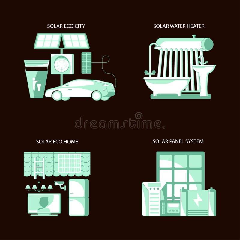 Solar panel system equipment. Icons. Vector illustration eps 10 royalty free illustration