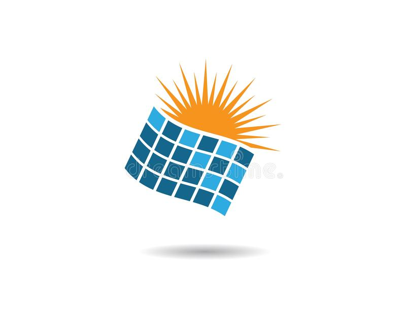 Solar panel vector logo illustration. Design, battery, electrical, icon, energy, isolated, modern, background, sun, power, business, isometric, concept royalty free illustration