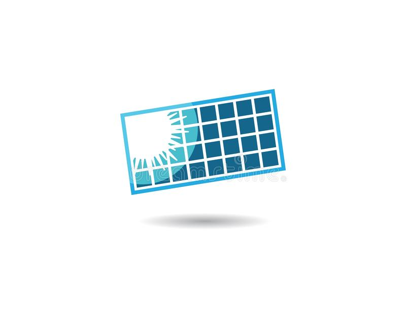 Solar panel vector logo illustration. Design, battery, electrical, icon, energy, isolated, modern, background, sun, power, business, isometric, concept vector illustration