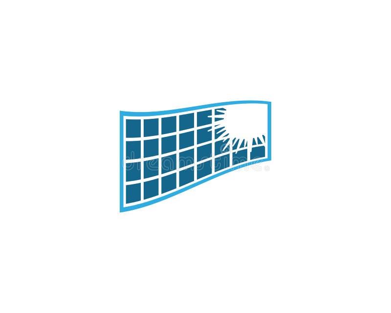 Solar panel vector logo illustration. Design, battery, electrical, icon, energy, isolated, modern, background, sun, power, business, isometric, concept stock illustration