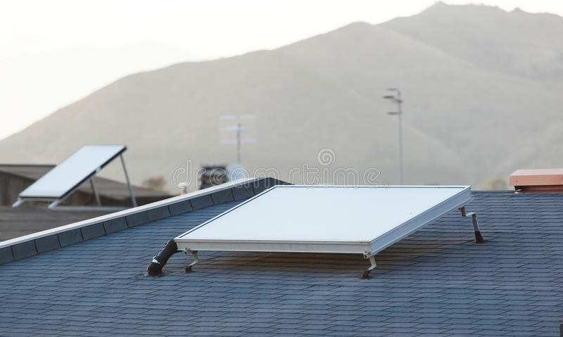 Solar panel for water heating system royalty free stock photography