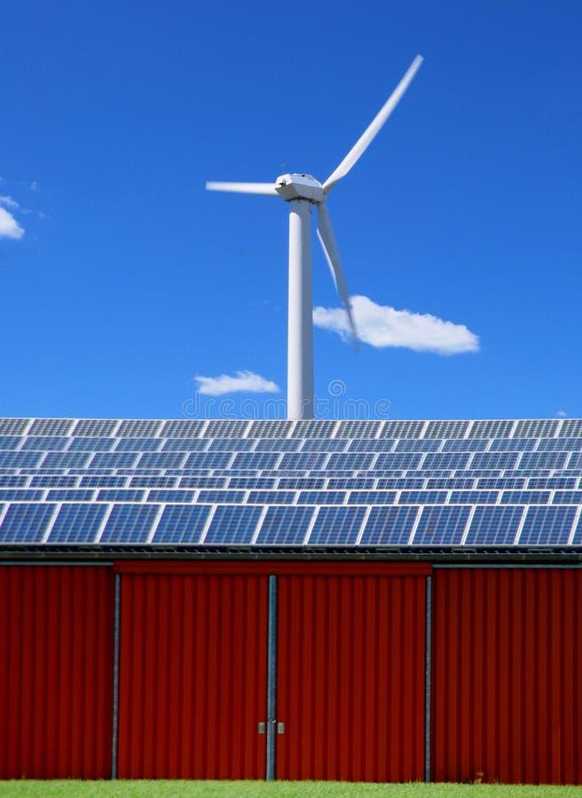 Solar panel and wind energy stock photo