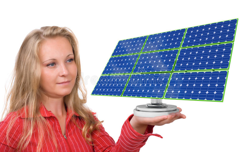 Download Solar Panel In Woman's Hand Royalty Free Stock Photos - Image: 15856248