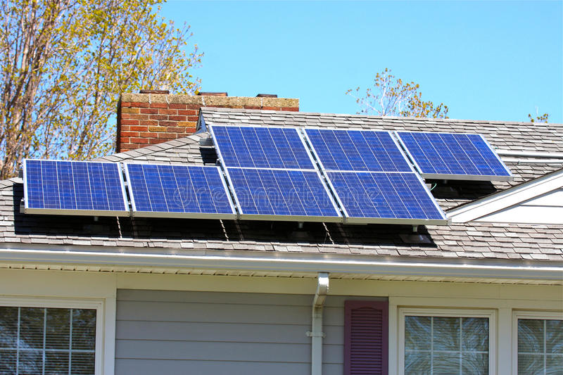 Solar Panels. Mounted on the roof of a single family residence