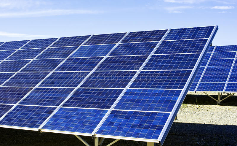 Solar panels. In row, sky in the background royalty free stock photo