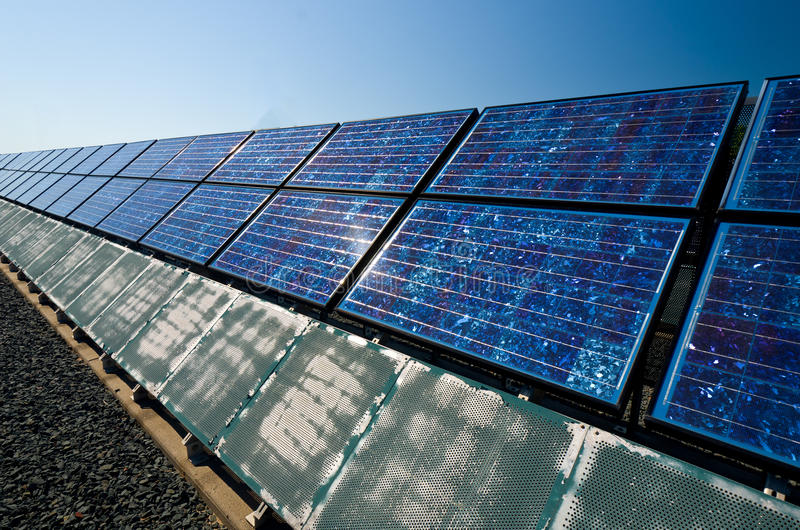 Solar Panels. In the Direct Sunlight on a hot day stock images