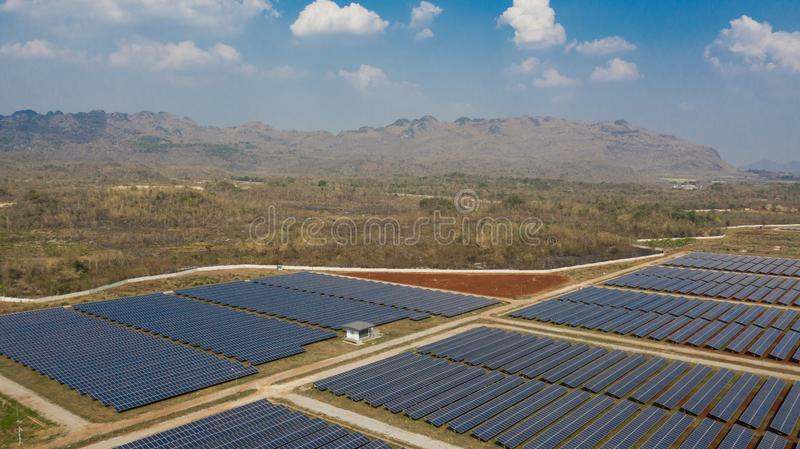 Solar panels in aerial view, Solar photovoltaic panels and solar photovoltaic power generation royalty free stock photography