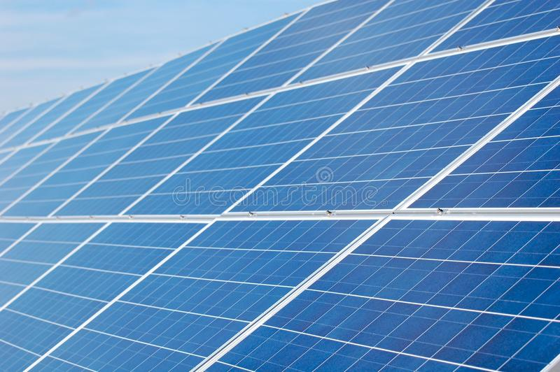 Solar Panels. An array of solar panels for alternative energy from the sun stock images