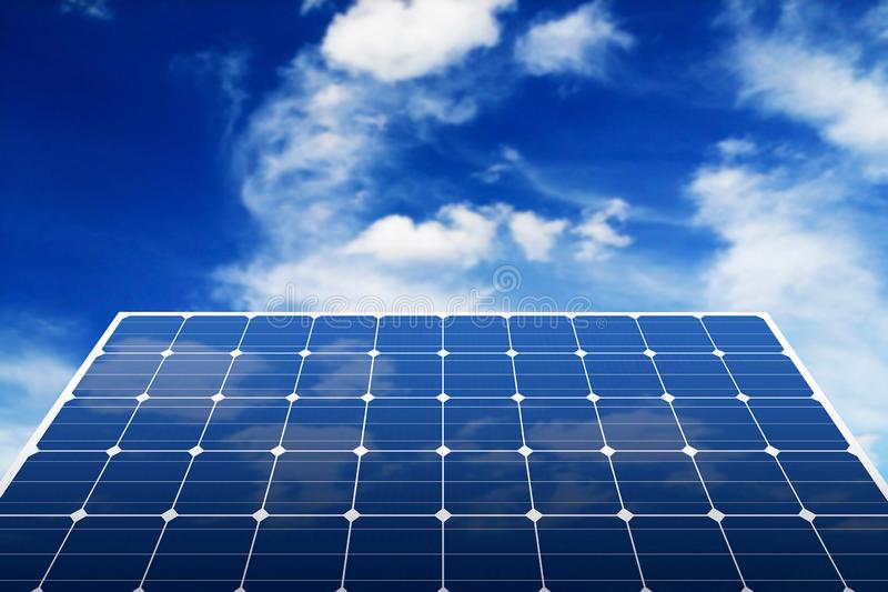 Solar panels. With blue sky, energy, green, sun, power, renewable, technology, environment, ecology, sunlight, clean, cell, alternative, electricity, collector royalty free stock photos